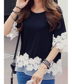Stylish Scoop Neck 1/2 Sleeve Spliced Flower Pattern T-Shirt For Women