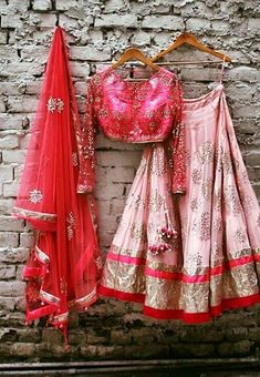 Indian bridal lehenga with blouse and dupatta. Designer lehenga.