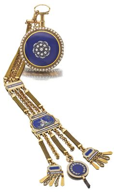 CHEVALIER ET COMPAGNIE A GOLD PEARL AND DIAMOND-SET QUARTER REPEATING WATCH WITH A GOLD AND ENAMEL CHATELAINE  CIRCA 1790