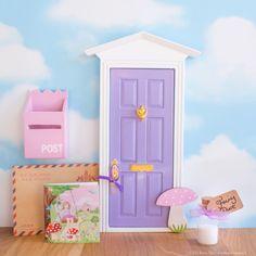 Purple Fairy Door with toadstool, UK