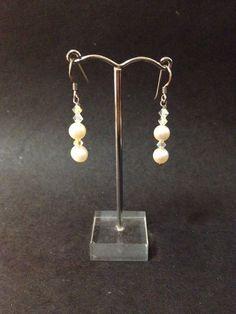 Pre Owned Sterling Silver Hook Earrings w/ Pearl & Crystal Beads - Stamped 925