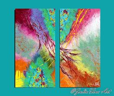 diptych painting abstract painting large by JuliaApostolova
