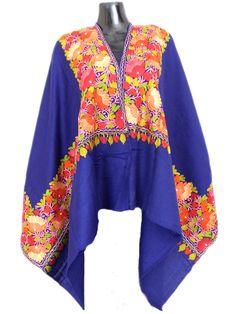 Kashmiri Embroidery Stole on Pure Wool - Blue