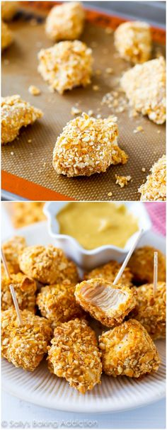 Pretzel Crusted Chicken Bites-- these are so simple. Baked, crunchy, and soooo good with honey mustard