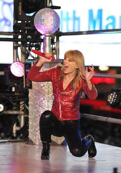 """Taylor Swift performing """"We Are Never Getting Back Together"""" and """"I Knew You Were Trouble"""" at Dick Clark's New Year's """"Rockin"""" Eve 2013 at Times Square in New York City, NY."""