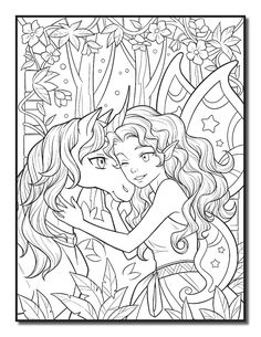 coloring page for adults Summer Coloring Pages, Unicorn Coloring Pages, Horse Coloring Pages, Fairy Coloring Pages, Adult Coloring Book Pages, Printable Adult Coloring Pages, Disney Coloring Pages, Coloring Books, Tattoo Coloring Book