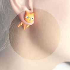 Orange cat - orange blue summer cat fashion - hand painted polymer clay one stud earring fake rusteam