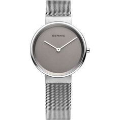 Bering Time - Classic - Ladies Two Tone Grey and Silver Tone Milanese Mesh Watch (Women's) 14531-077 featuring polyvore, women's fashion, jewelry, watches, 2 tone watches, water resistant watches, mesh watches, grey watches and mesh jewelry