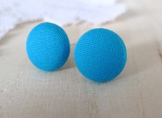 Fabric Button Studs Earrings - Turquoise Blue