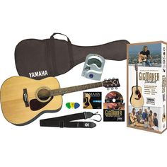 Amazon.com: Yamaha Gigmaker Standard Acoustic Guitar w/ Gig Bag, Tuner, Instructional DVD, Strap, Strings, and Picks - Natural: Musical Instruments