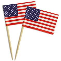 """American flags for topping cupcakes, appetizers, cocktails and other party treats!    2-1/2""""""""(6cm) tall Package of 24"""