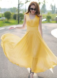 V Neck Sleeveless Chiffon Prom Dress - OASAP.com