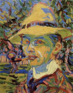 Ernst Ludwig Kirchner Self-portrait with a pipe 1907 55 x 42.5 cm Oil on canvas Private collection