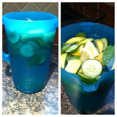 Easy Detox Cleanse!! Fill a pitcher with 3oz of water, 12 mint leaves, 2 lemons, 1/2 cucumber and a lime (optional) let sit in fridge overnight and drink a glass once daily for 10 days!!