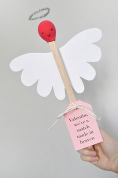 "These DIY giant matchstick angels were inspired by the pun ""a match made in heaven"" – get it? They're simple to make and really stand out from the Valentine's Day card crowd."