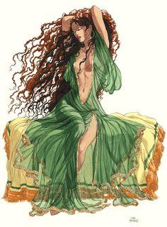 Chica Fantasy, Fantasy Girl, Milo Manara Art, Illustrations, Illustration Art, Art Sketches, Art Drawings, Comics Und Cartoons, Sacred Feminine