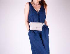 Gray Belt Bag Vegan Leather Fanny Pack Minimalist Hip Bag