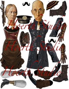 Steampunk paper puppets American Gothic dolls Diy articulated