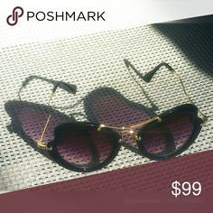 🌷Edgy 💜 Butterfly Heart Sunnies On-trend SUNNIES!  High quality, heart-shaped butterfly/cateye sunglasses.  100% UV & UVB protection with UV 400 polarized lenses in smokey eggplant tint. Constructed of polycarbonate black frames, gold temples, flexible & soft gold colored silicone nose pads. NWOT. Includes soft protective bag  Smoke-free environment ⤵ 🆕 NEW to Poshmark? Sign up on app using discount code:          👀 💥 JOANIEONIE 💥 👀                ↪ get $5 OFF your 1st order!   ↗ 💲…