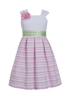 Bonnie Jean  Lace to Stripe Dress Girls 7-16