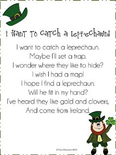 I Want to Catch a Leprechaun Poem - -  Pinned by @PediaStaff – Please Visit http://ht.ly/63sNt for all our pediatric therapy pins
