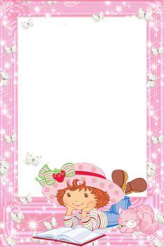 Marco transparente PNG Strawberry Shortcake con el libro