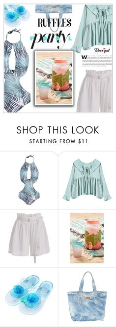 """RoseGal #52"" by shambala-379 ❤ liked on Polyvore featuring Urban Outfitters and ruffledtops"