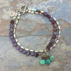 Garnet Bracelet, Artisan Bracelet, Grade AAA Garnet and Green Moss Opal, Hill Tribe Silver, Boho Chic, Double Stranded Bracelet, 7.5 inch