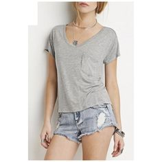 Simple Fashion V-Neck Boyfriend Style Short Sleeve Plain Tee ($24) ❤ liked on Polyvore featuring tops, t-shirts, v-neck tee, boyfriend tank top, short v neck t shirts, v neck t shirts and boyfriend t shirt