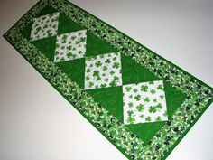 "St. Patrick's Day Quilted Table Runner, Shamrock Table Runner, Green and White Table Mat, 13""x36"", Quiltsy Handmade by VillageQuilts on Etsy"