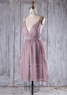 2016 Lavender Chiffon Bridesmaid Dress Deep V Neck von RenzRags