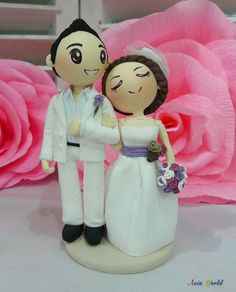 Wedding Cake topper wedding couple in violet theme clay doll, wedding decoration clay miniature, clay couple gift,rings holder clay figurine on Etsy, $69.50