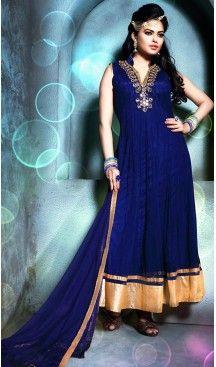 Abhaya Style  Royal Blue Color Georgette Anarkali Churidar Suit with Dupatta #heenastyle , #boutique , #pakistani, #salwar , #kameez , #suit , #dresses , #styles , #fashion , #clothing , #henna , #designs , #mehndi