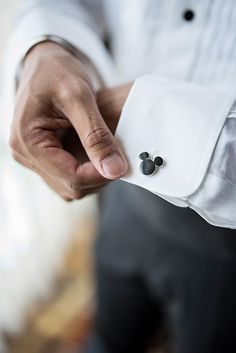Mickey Mouse cufflinks for this Disneyland groom.
