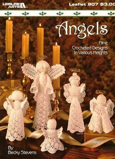 X670 Crochet PATTERN ONLY 9 Crochet Angels by BeadedBundles, $8.95