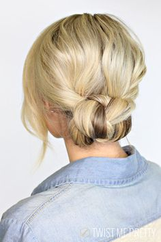 2 minute braided bun from Twist Me Pretty.  Quick, easy, and effective hairstyle for an active lifestyle!