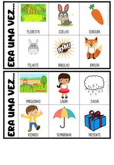 FICHAS PARA PRODUÇÃO DE TEXTO Angelina Kids, Poetry For Kids, File Folder Games, Teaching Spanish, Stories For Kids, Conte, Speech And Language, Kids Education, Professor