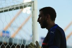 Gianluigi Donnarumma of Italy looks on as he warms up prior to the 2017 UEFA European Under-21 Championship Group C match between Italy and Germany at Stadion Cracovia on June 24, 2017 in Krakow, Poland.