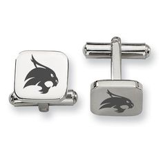 Texas State Bobcats Stainless Steel Cufflinks. High quality stainless steel cufflinks with rounded edges and a square shape. The surface of these cufflinks are brushed to give the school logo maximum detail. We use the only the finest materials when we build these amazing looking collegiate cufflinks.