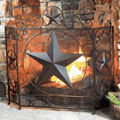 Lone Star Fireplace Screen.. the Lone Star decor is seen all over Texas.