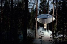 The Ufo at the Tree Hotel by Inredningsgruppen, a flying saucer structure cast in durable composite material located in Harads, northern Sweden. Treehouse Hotel, Building A Treehouse, Backyard Treehouse, Treehouse Ideas, Ufo, Designer Hotel, Nature Architecture, Architecture Design, Glamping