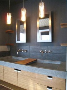Love what is possible with concrete. Custom concrete sink and cabinet by Luke Works, of Baltimore. Modern Bathtub, Modern Bathroom, Sink Design, Upstairs Bathrooms, Concrete Design, Industrial House, Concrete Countertops, Bathroom Inspiration, Home Projects