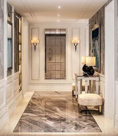 Corridors, entrances are references to your rooms. The corridors can carry the common language of th Flur Design, Plafond Design, Design Living Room, Home Room Design, Luxury Interior Design, Interior Architecture, Corridor Design, Hallway Designs, Lobby Design