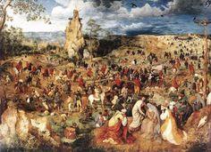 """""""Kruisdraging"""" by Pieter Bruegel (de Oude) olieverf op doek (124 × 170 cm) 1564. Museum Kunsthistorisches Museum, Wenen. De processie op weg naar Calvarië (Golgotha) komt tot stilstand als Jezus bezwijkt onder het kruis (midden). Rechts op de voorgrond een treurend groepje rond Maria en Johannes de Evangelist."""