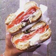 Sunday Lunch !👌🙈😍 #salmon #bagel #blackseed #Soho #NYC @blackseedbagels