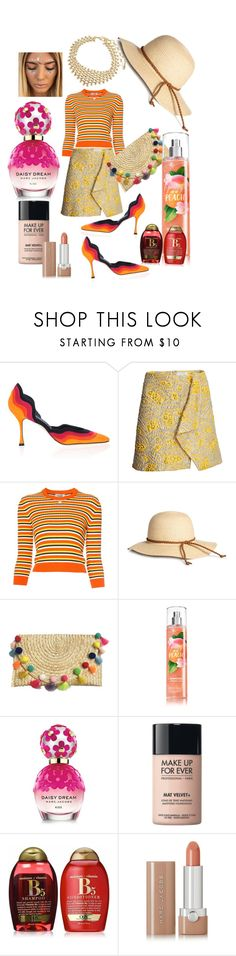 """""""Tangerine 🍊"""" by princess-darjeeling ❤ liked on Polyvore featuring Manolo Blahnik, Courrèges, Marc Jacobs, MAKE UP FOR EVER, Organix and Amrita Singh"""