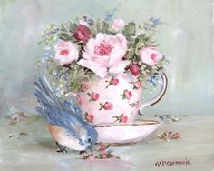 Bluebird, teacup and roses