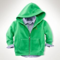 preppy baby | Ralph Lauren | Green hoodie with striped long sleeved polo
