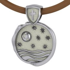 Men's version of He Hung The Moon & Stars pendant with Brown Leather Cord