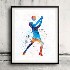 Volley ball player man 01 in watercolor - Fine Art Print Glicee Poster Home Watercolor sports Gift Room Illustration Wall - SKU 2308 by Paulrommer on Etsy